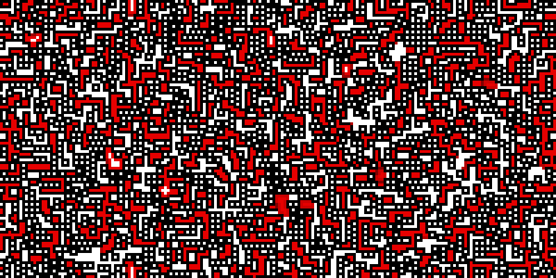 A huge number of white squares with black borders are scattered across the bitmap; they tend to form horizontal and vertical stripes. Surrounding these are larg(er) red and white regions, seperated by black lines, each region a union of orthogonal rectangles.