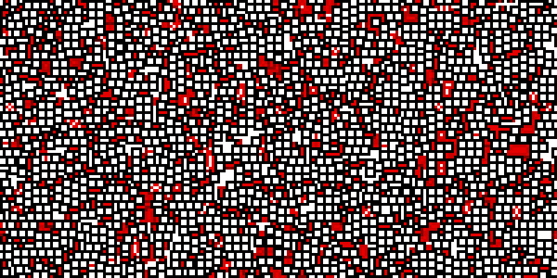 A huge number of slightly larger white squares with black borders are scattered across the bitmap; they tend to form horizontal and vertical stripes. Surrounding these are small red and white areas.