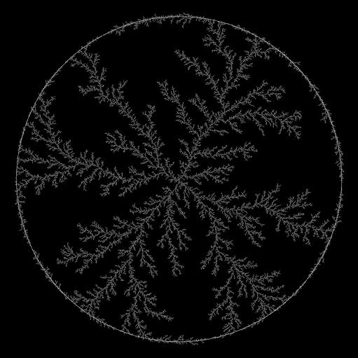 Round DLA fractal (1600 px)