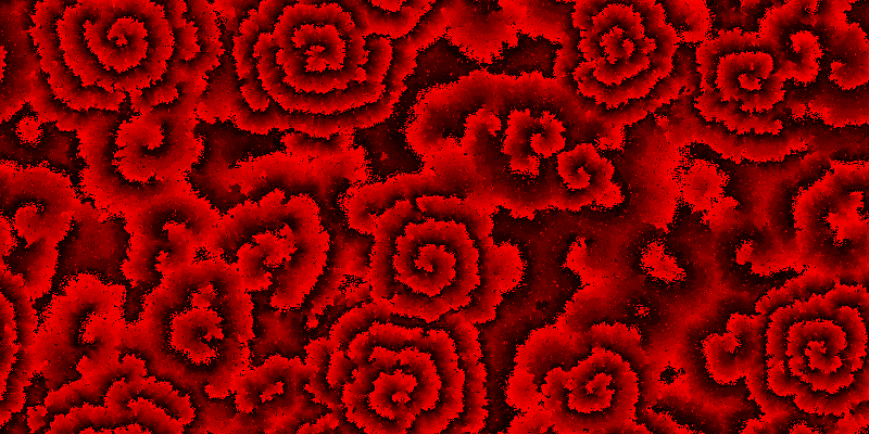 An intermediate step of the cyclic cellular automaton with increment three, showing roses.