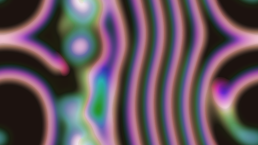 A single frame from the simulation. A number of curved, mainly vertical gradient (but mainly purple) lines are shown on a black background. Four of these are almost parallel. To the right of these, two lines coming from above and below, respectively, join to form a horizontal line; this continues on the left side of the image, where it bifurcates and again forms two parts. The upper part touches the upper edge of the image and continues from the lower edge, forming a circular arc going to the left, and continuing on the right side of the image, below the joining of the initial two vertical lines. To the left of the almost parallel lines and below the bifurcation, aurorae are visible.