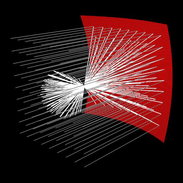 Reflektion i en parabolisk yta.