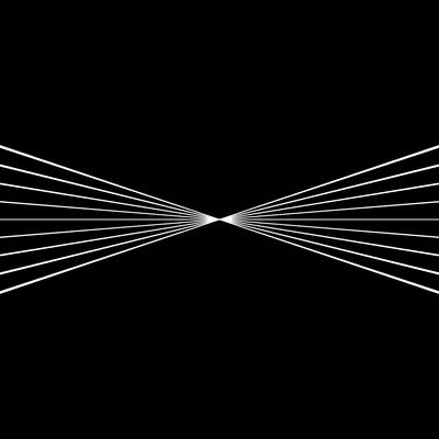 Förstoring av skärningspunkten hos den paraboliska spegeln med liten krökning