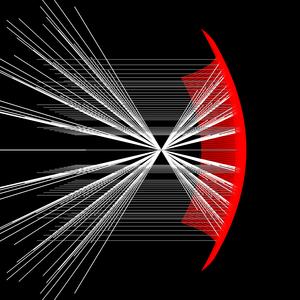 Parabolisk spegel, stor krökning