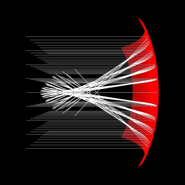Reflektion i grafen till cosinus hyperbolicus av avståndet från origo.