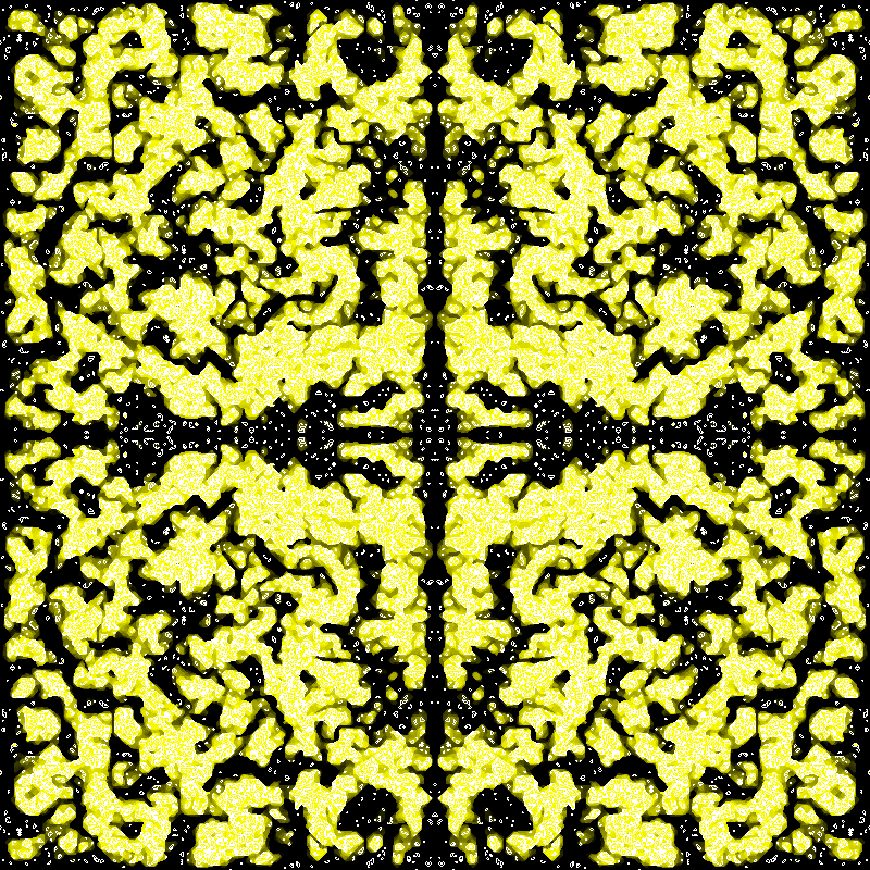 "A patterned formed by the ""Coagulations"" cellular automaton."